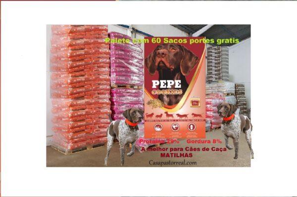 Palete de 60 sacos ração Pepe Cookies 20kg para cães de matilha caça envio grátis 1